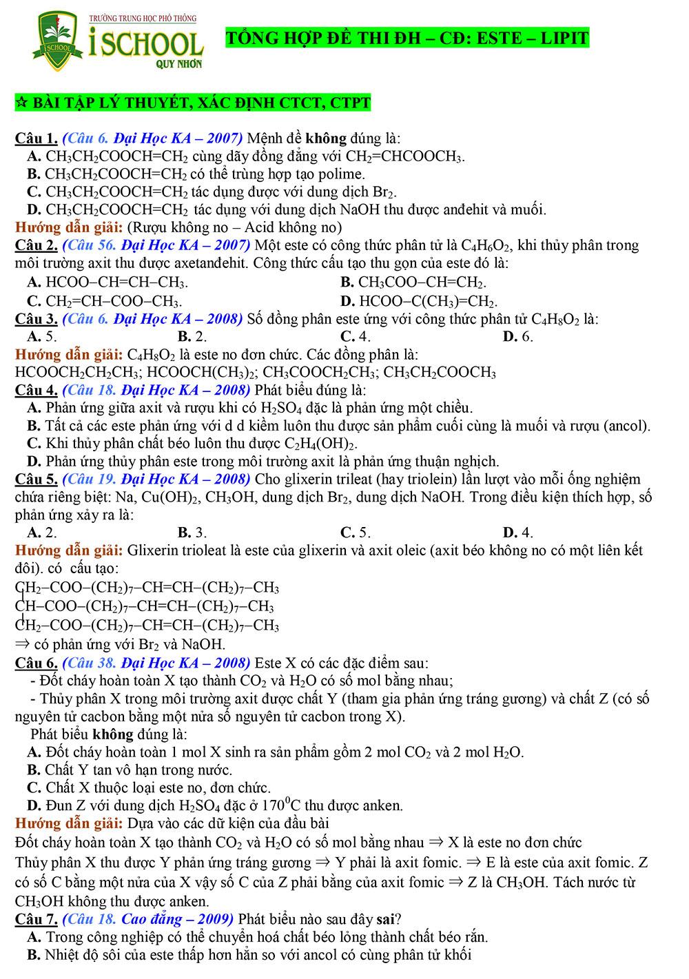 Bài tập este - lipit trong đề thi Đại Học - Cao Đẳng
