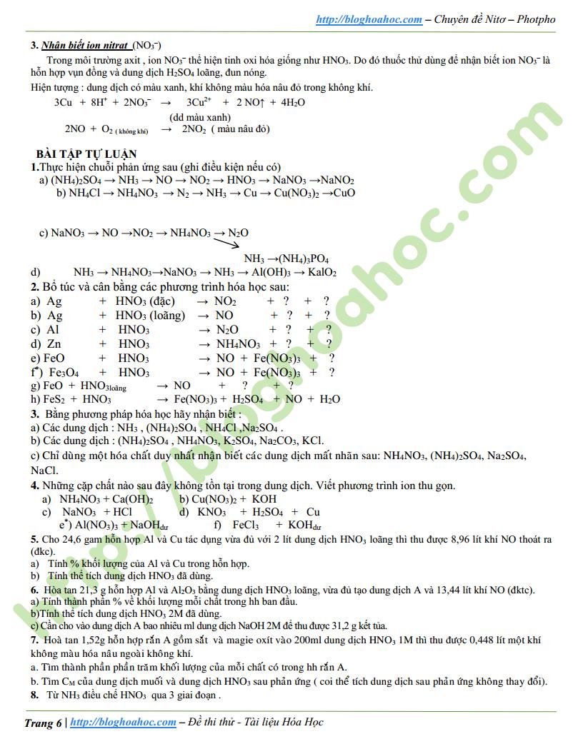 Tài liệu ôn thi Nito - Photpho có đáp án và lời giải chi tiết