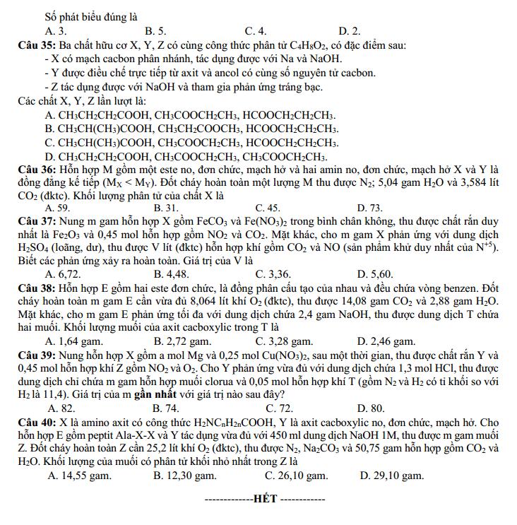 Đề thi minh Họa môn Hóa Học lần 2 của Bộ Giáo Dục và Đào Tạo