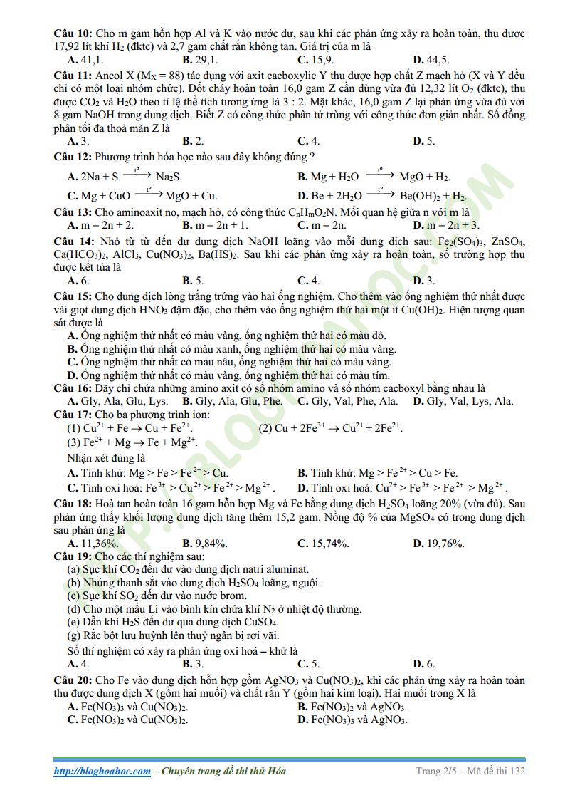 Đề thi thử môn Hóa Học trường THPT DTNT Tỉnh Thanh Hóa lần 2
