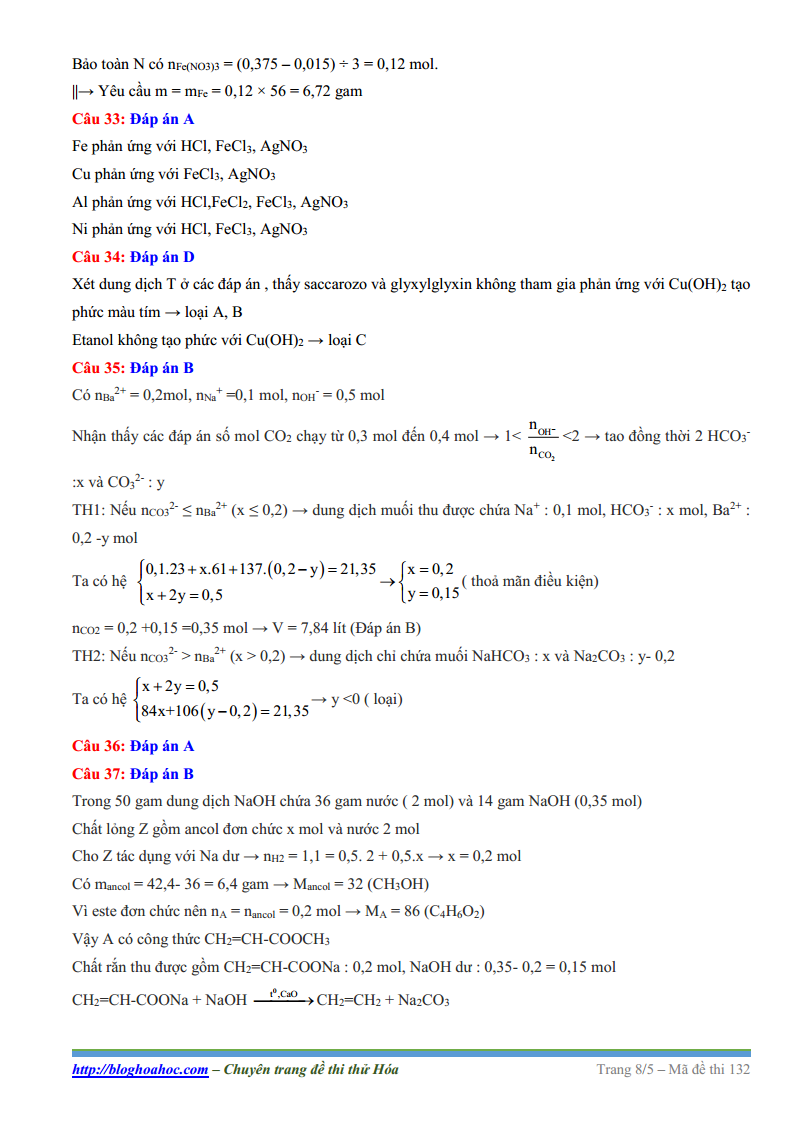 Đề thi thử môn Hóa trường THPT Chuyên Bắc Giang lần 1 năm 2017 có lời giải chi tiết, đề thi thử môn Hóa năm 2017