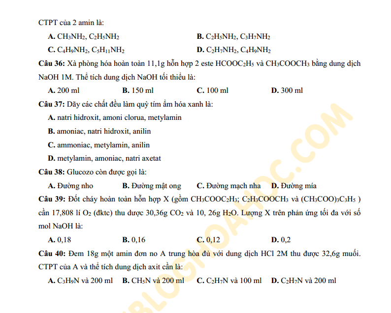 Đề thi thử môn Hóa Học trường THPT Vĩnh Viễn - TP. Hồ Chí Minh có đáp án