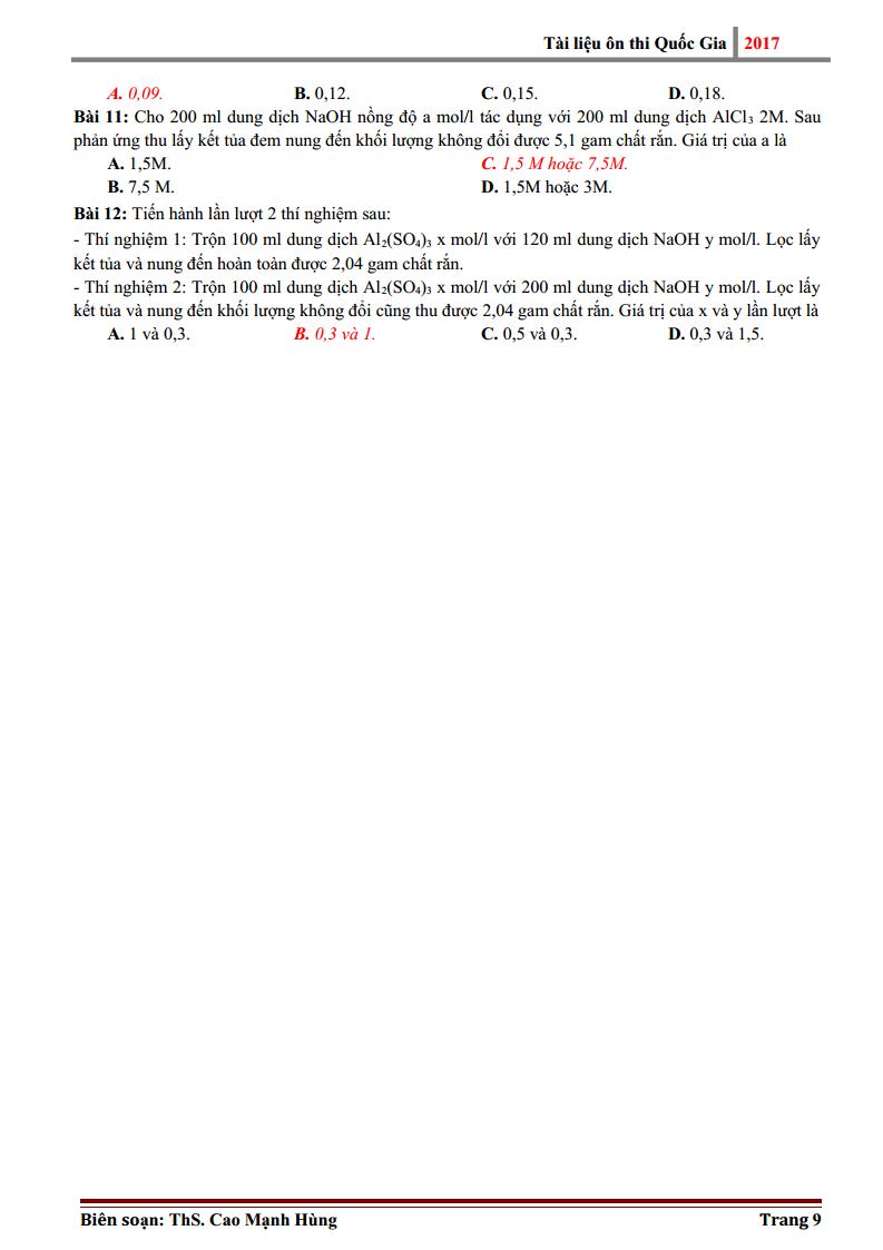 Các bài toán nhôm và hợp chất của nhôm hay và khó