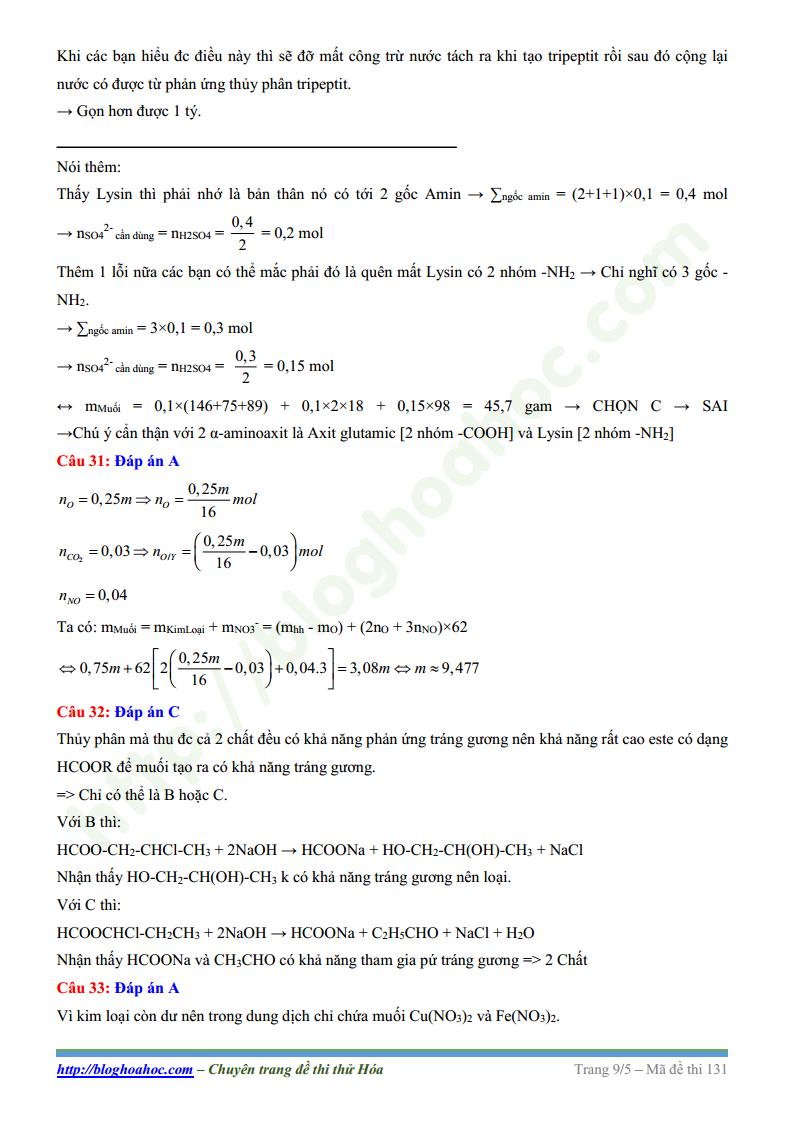 Đề thi thử môn Hóa trường THPT Chuyên Nguyễn Huệ lần 1 năm 2017 có lời giả chi tiết