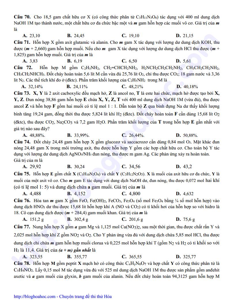 Đề thi thử THPT Quốc Gia môn Hóa Học trường THPT Thanh Oai - Hà Nội có đáp án giải chi tiết và hướng dẫn định hướng từng câu