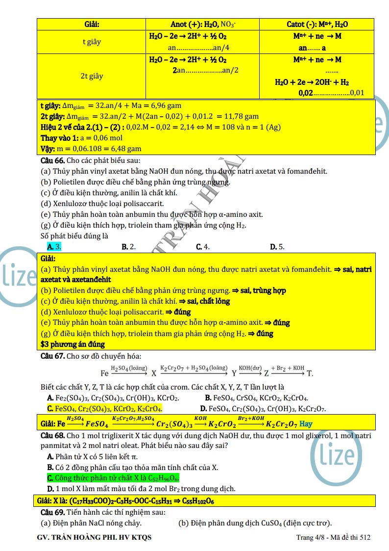 Đáp án giải chi tiết đề thi minh họa môn Hóa Học lần 3