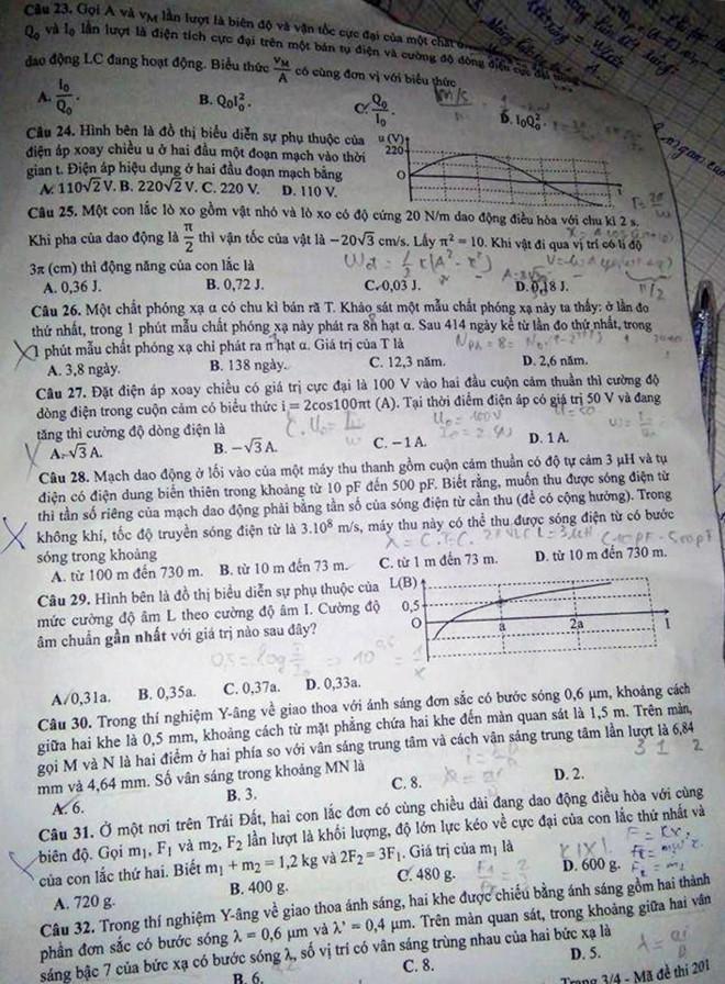 Đáp án môn Vật lý mã đề 201 THPT Quốc Gia 2017