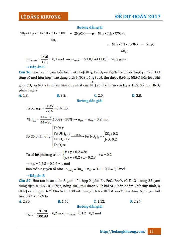 Đề dự đoán môn Hóa Học năm 2017 thầy Lê Đăng Khương có đáp án và lời giải chi tiết. Đề thi giúp các em rút ra kinh nghiệm từ những bài toán thực tế.