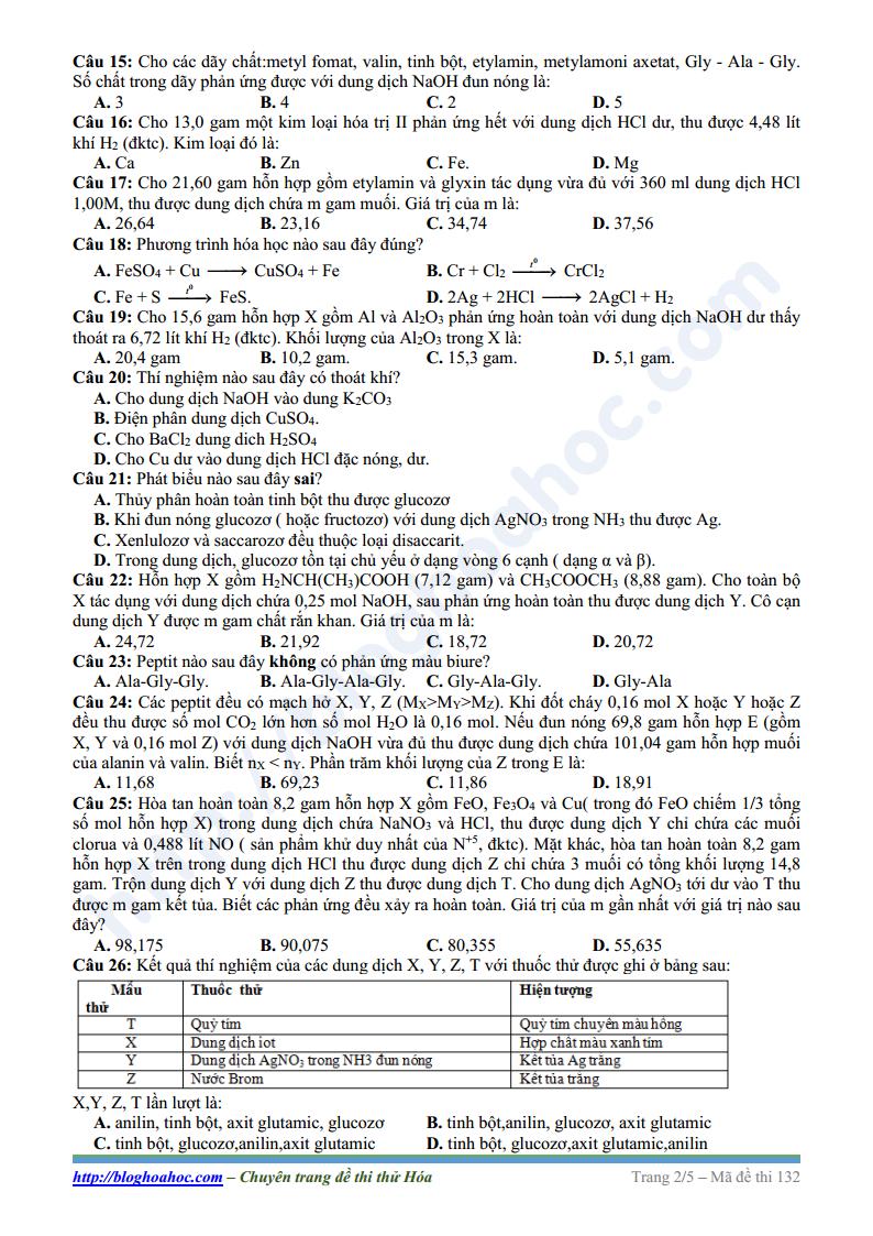 Đề thi thử môn Hóa Học trường THPT Chuyên Bắc Ninh lần 3 năm 2017 có lời giải chi tiết