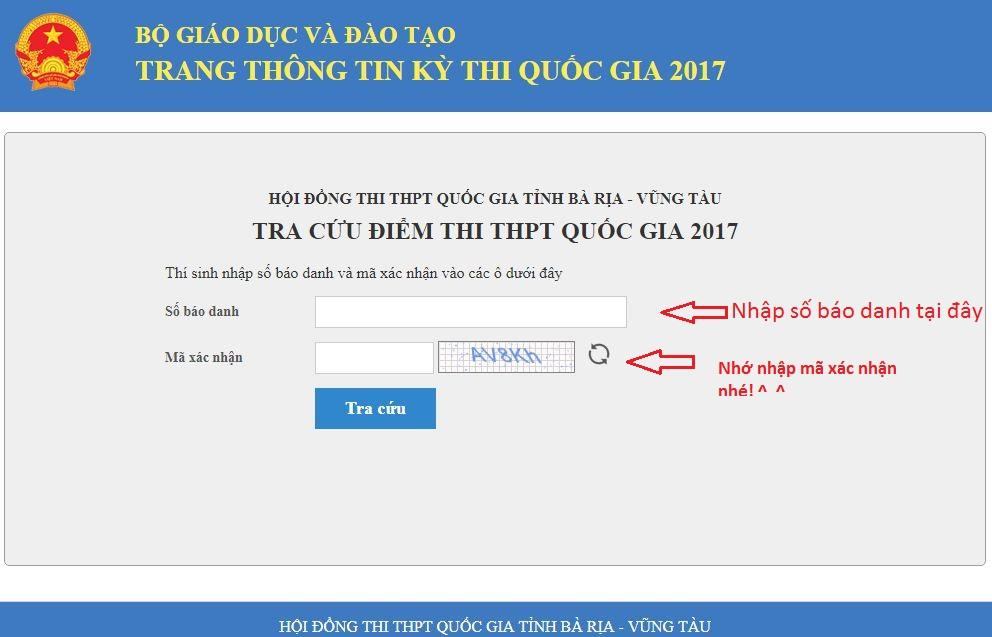 Tra cứu điểm thi THPT Quốc Gia tỉnh Bà Rịa - Vũng Tàu năm 2017