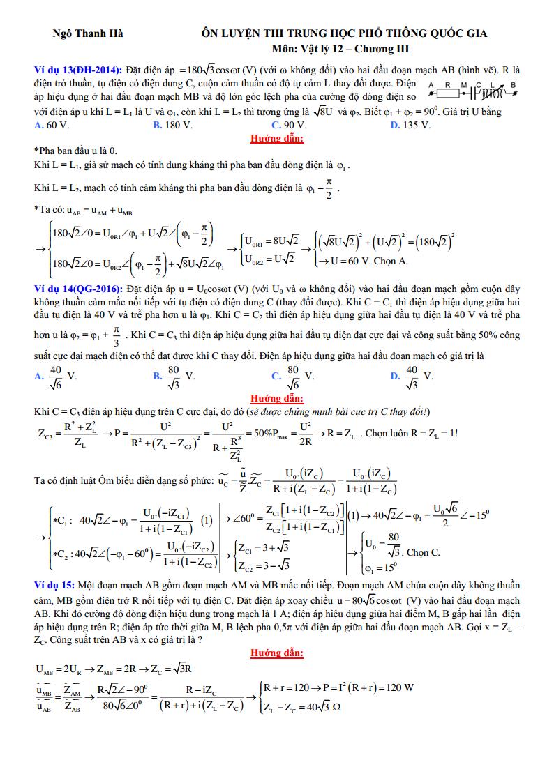 Giải chi tiết bài toán Điện xay chiều bằng máy tính Casio