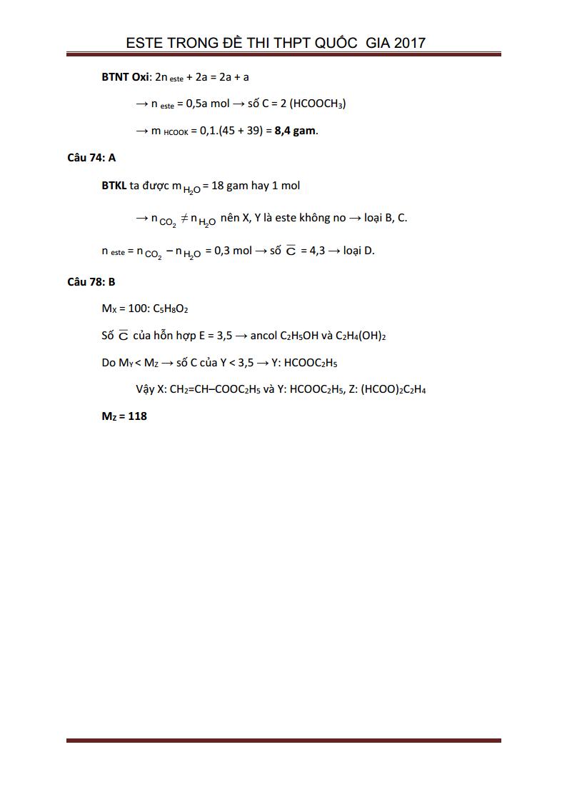 Giải chi tiết bài tập Este trong đề thi THPT Quốc Gia 2017