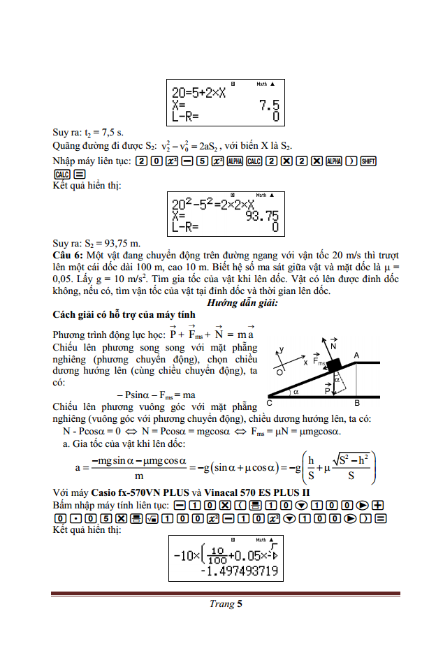 Giải nhanh Động lực học chất điểm Vật lý 10 bằng Casio