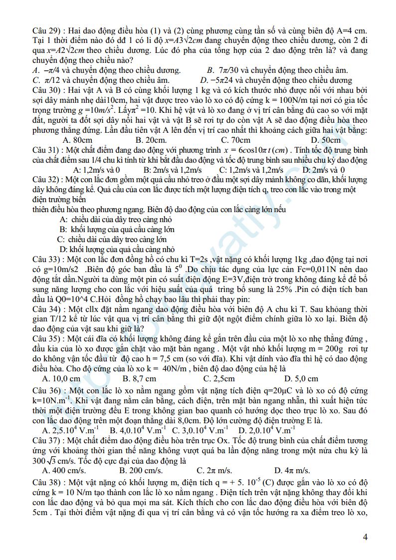 Bài tập chuyên đề Dao động cơ lớp 12 có đáp án