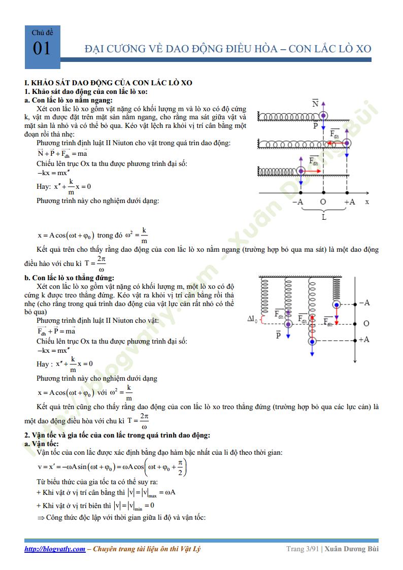 Chuyên đề Dao Động Cơ - Vật Lý 12 - Thầy Bùi Xuân Dương