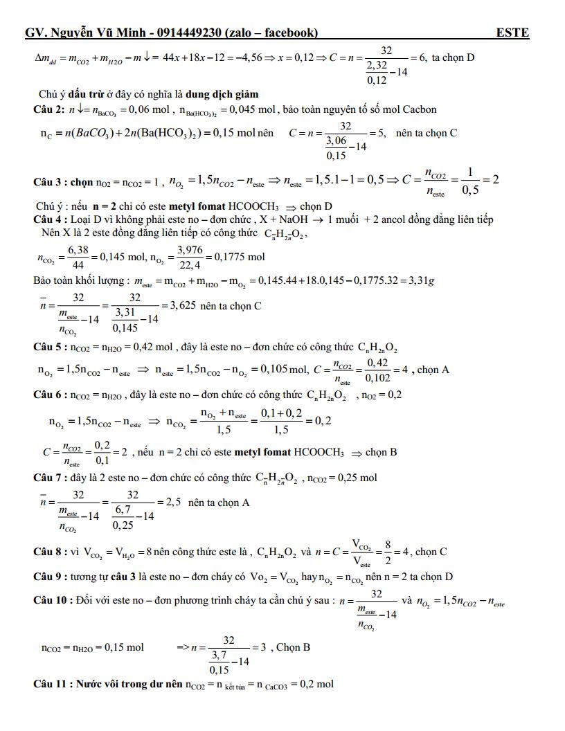 Các dạng bài tập trắc nghiệm Chuyên đề Este giải chi tiết