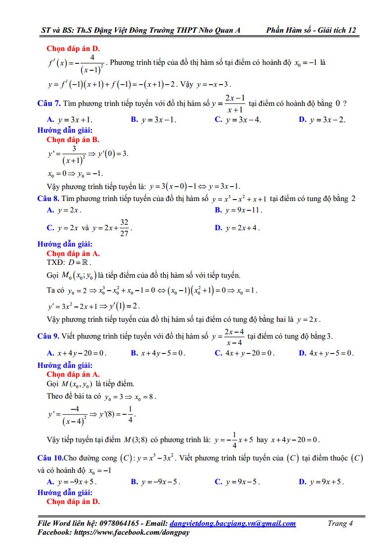 Chuyên đề Hàm Số - Tiếp tuyến của đồ thị Hàm Số - Giải chi tiết