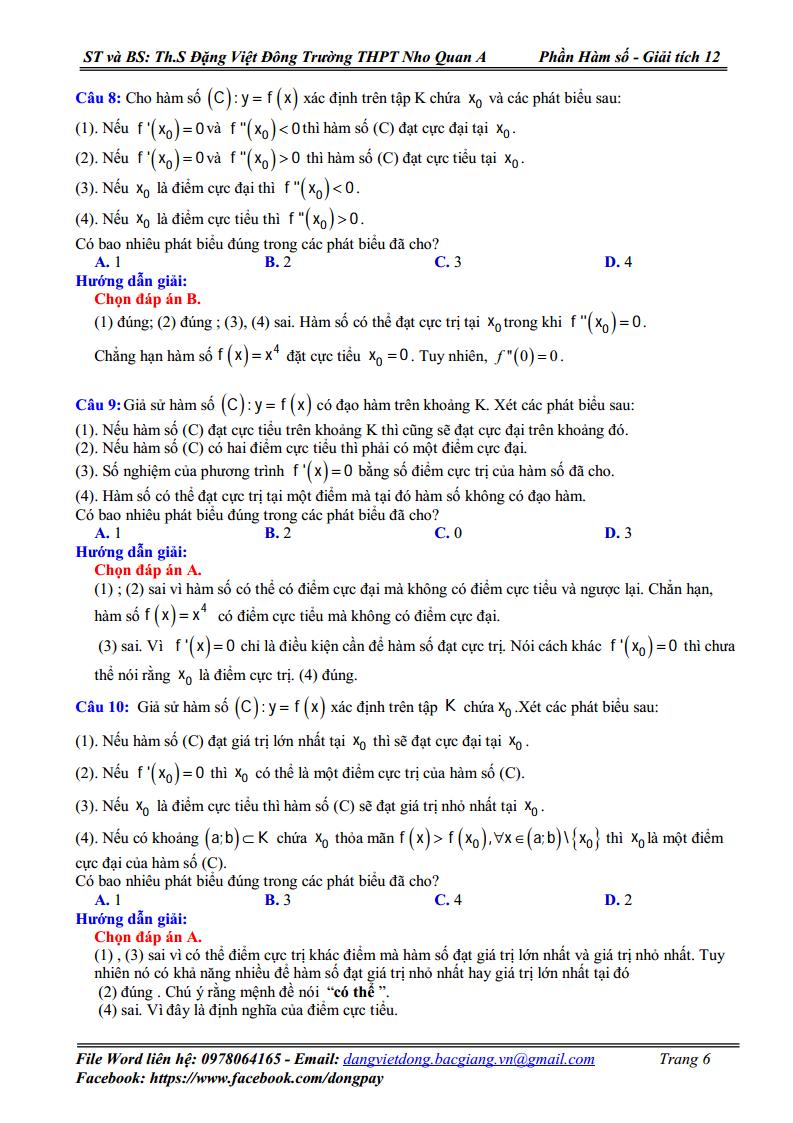 Chuyên đề Hàm số - Cực trị của hàm số - Bài tập có lời giải
