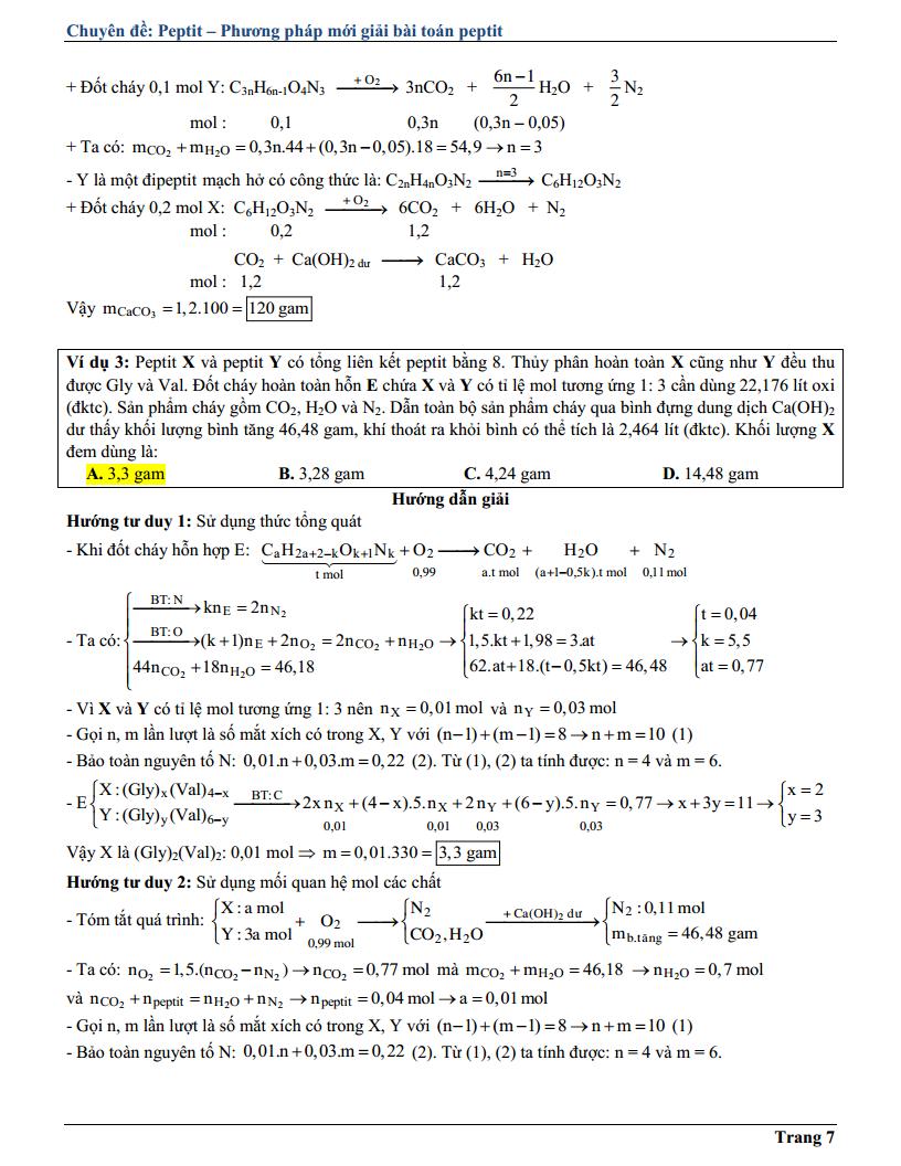 Chuyên đề Peptit hay và khó - Bài tập nâng cao và lý thuyết