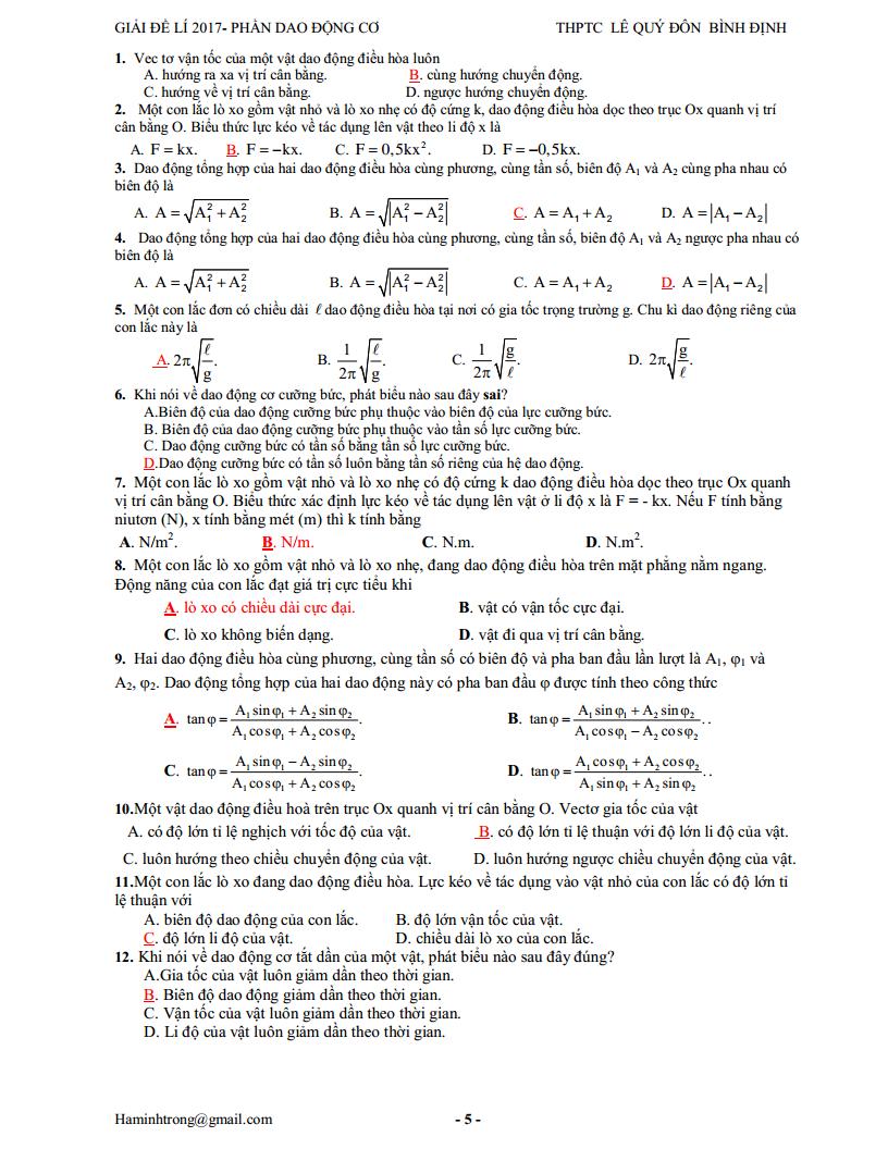 Giải chi tiết bài tập dao động cơ học trong đề thi THPT Quốc Gia 2017