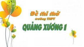 Đề thi thử môn Tiếng Anh của trường THPT Quảng Xương 1 lần 1 năm 2017