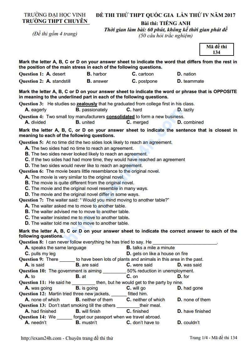 Đề thi thử môn Tiếng Anh của trường THPT Chuyên Vinh lần 4 năm 2017 có đáp án và lời giải chi tiết