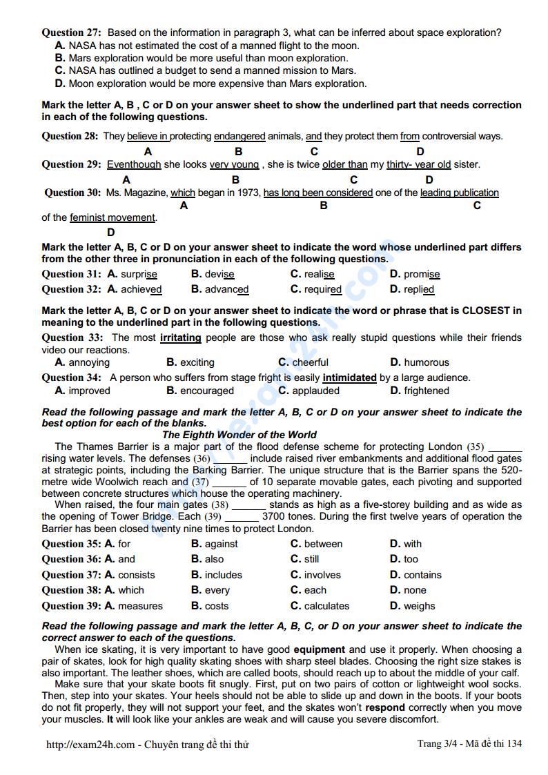 Đề thi thử môn Tiếng Anh của trường THPT Chuyên ĐH Vinh lần 4 năm 2017 có đáp án và lời giải chi tiết