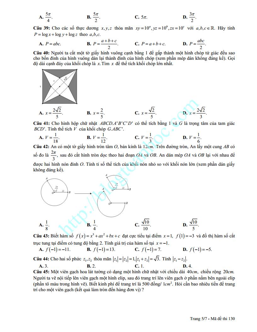 Đề thi thử môn Toán trường Quốc Học Quy Nhơn lần 2 2017 có đáp án