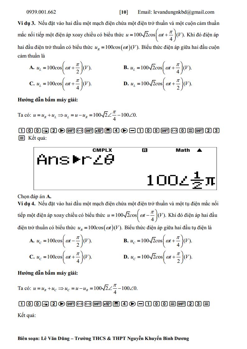 Hướng dẫn giải bài tập vật lý 12 bằng casio kỳ thi THPT Quốc Gia