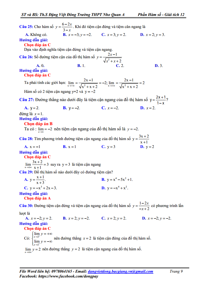 Chuyên đề Hàm số - Tiệm cận của đồ thị hàm số - Bài tập Giải chi tiết