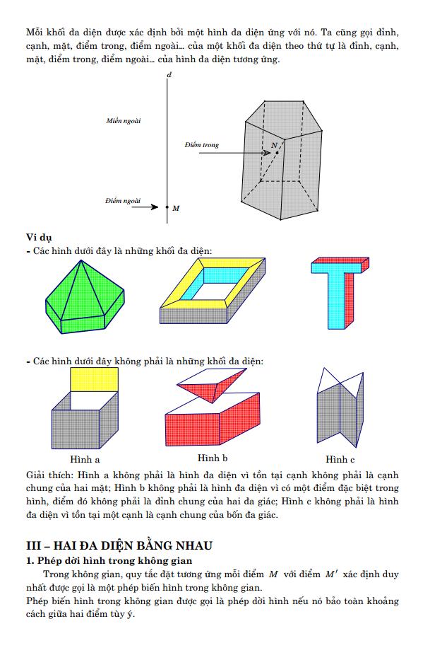 Lý thuyết và bài tập trắc nghiệm - Khối đa diện - Có đáp án