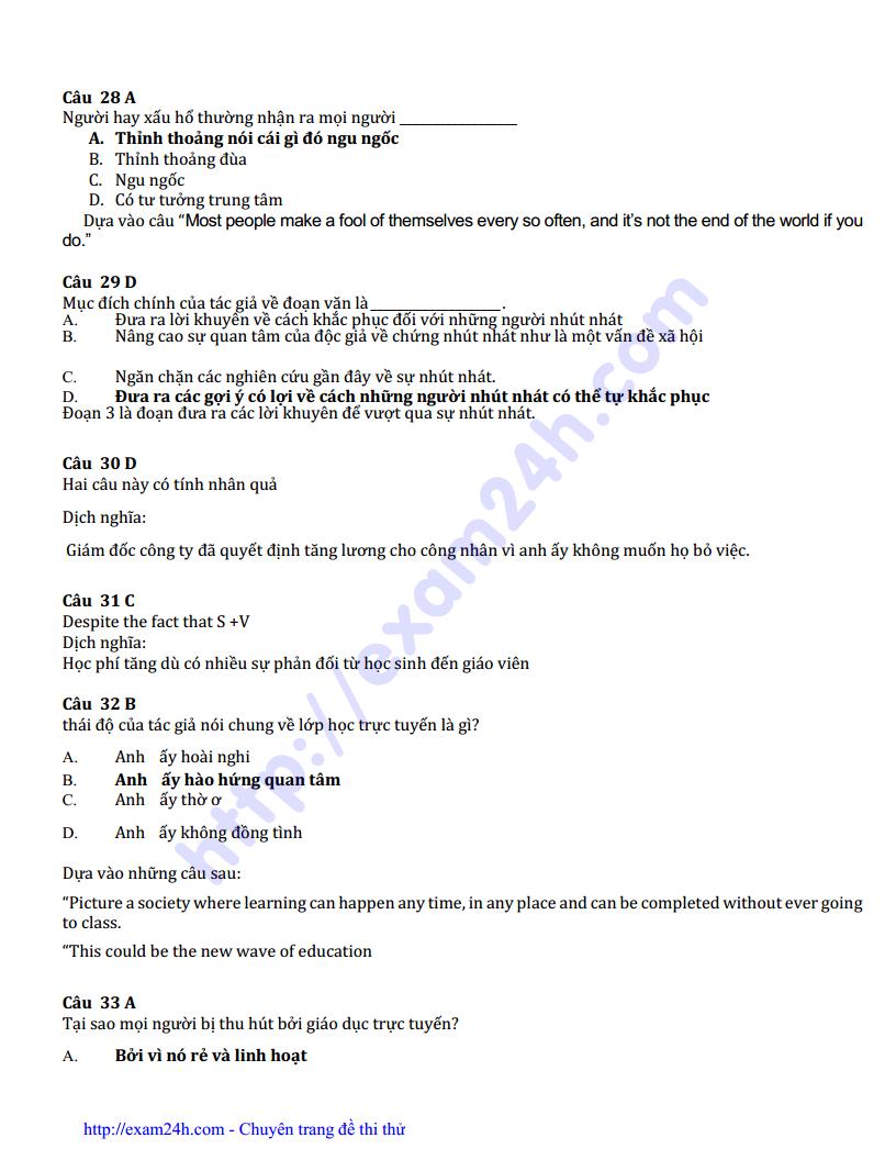 Đề thi thử môn Tiếng Anh của trường THPT Chuyên Vinh lần 3 năm 2017 có đáp án và lời giải chi tiết
