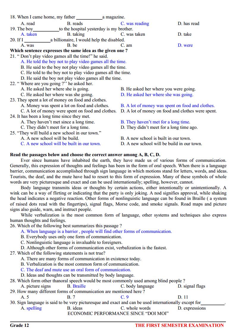 Bộ đề thi tiếng Anh THPT - Có đáp án