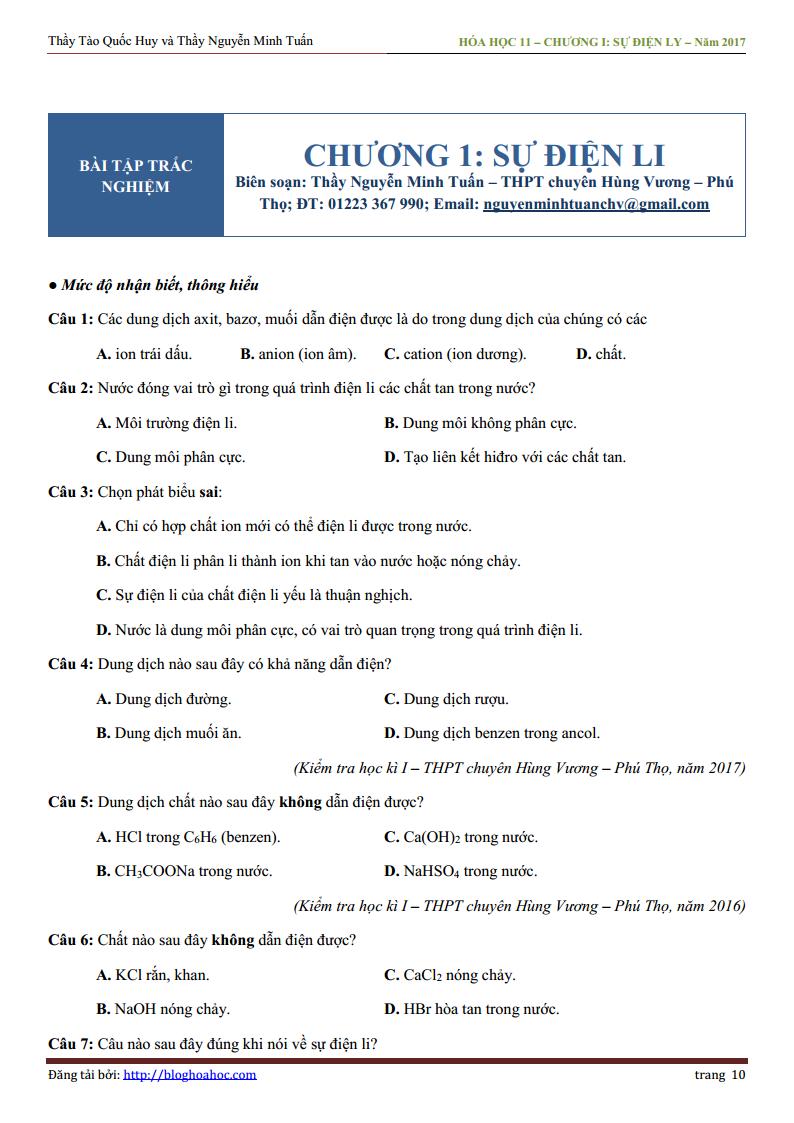 Bài tập trắc nghiệm chương sự điện li - ôn thi THPT Quốc Gia 2018