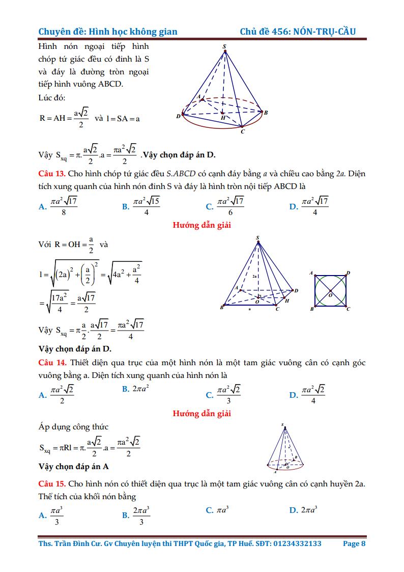 Chuyên đề Mặt nón - Mặt trụ - Mặt cầu - Bài tập giải chi tiết