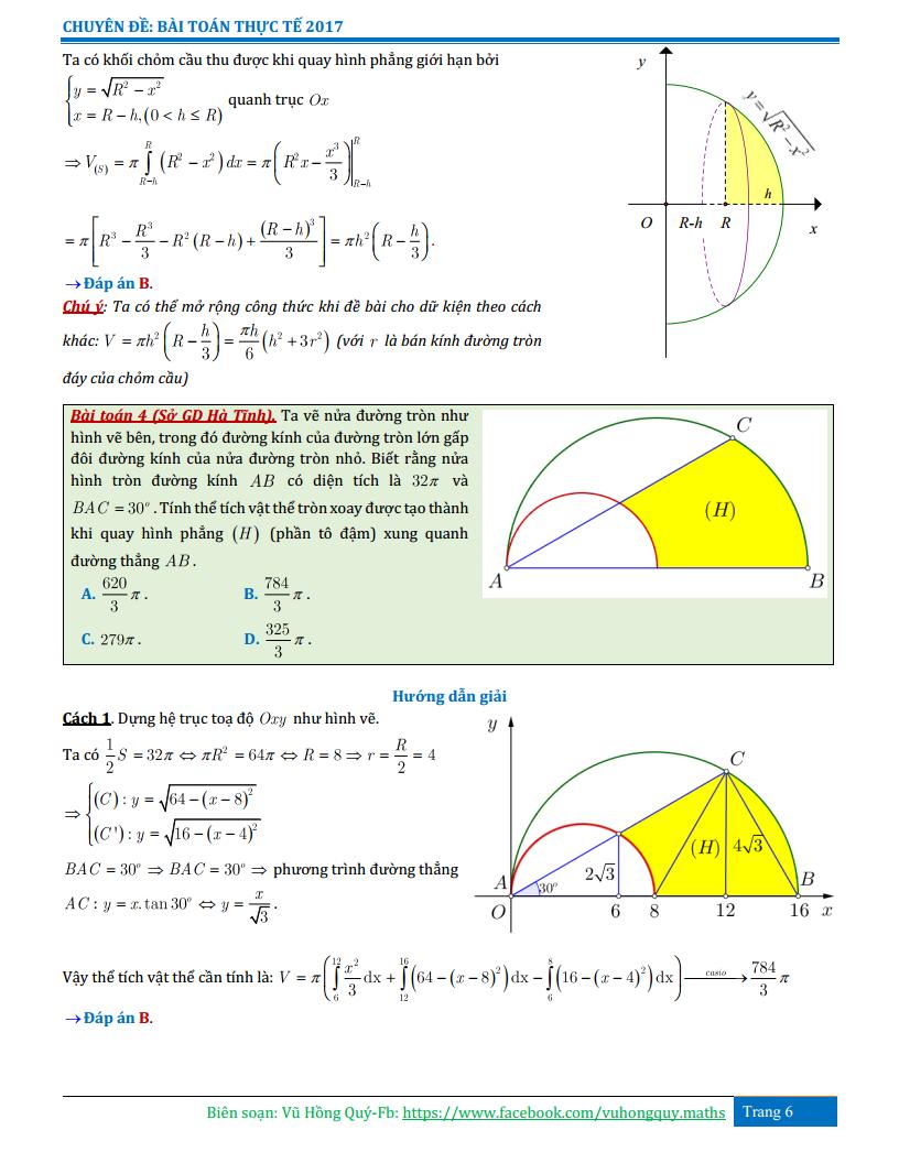 Ứng dụng Tích Phân - Bài tập nâng cao có lời giải chi tiết
