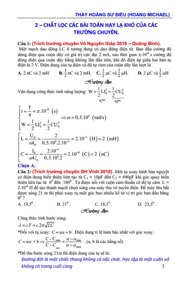 Lý thuyết và bài tập chuyên đề Dao động điện từ