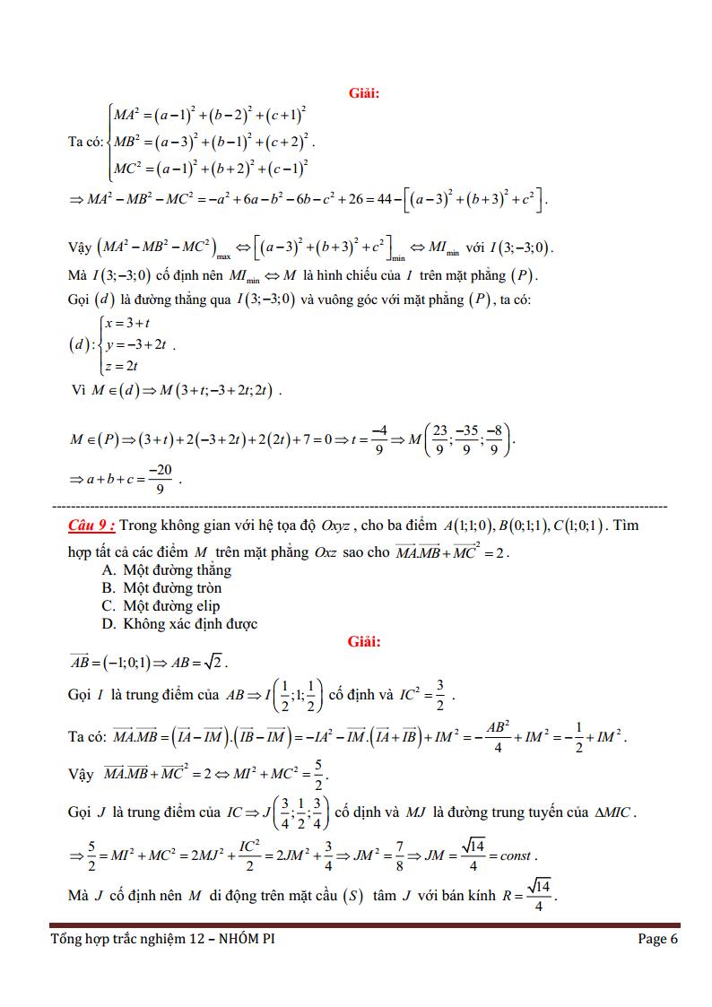 Phương pháp tọa độ trong không gian - Bài tập trắc nghiệm có lời giải