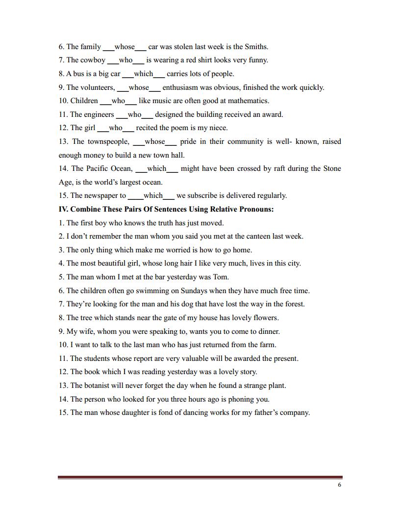 Bài tập mệnh đề quan hệ - Tài liệu tiếng Anh ôn thi THPt Quốc gia