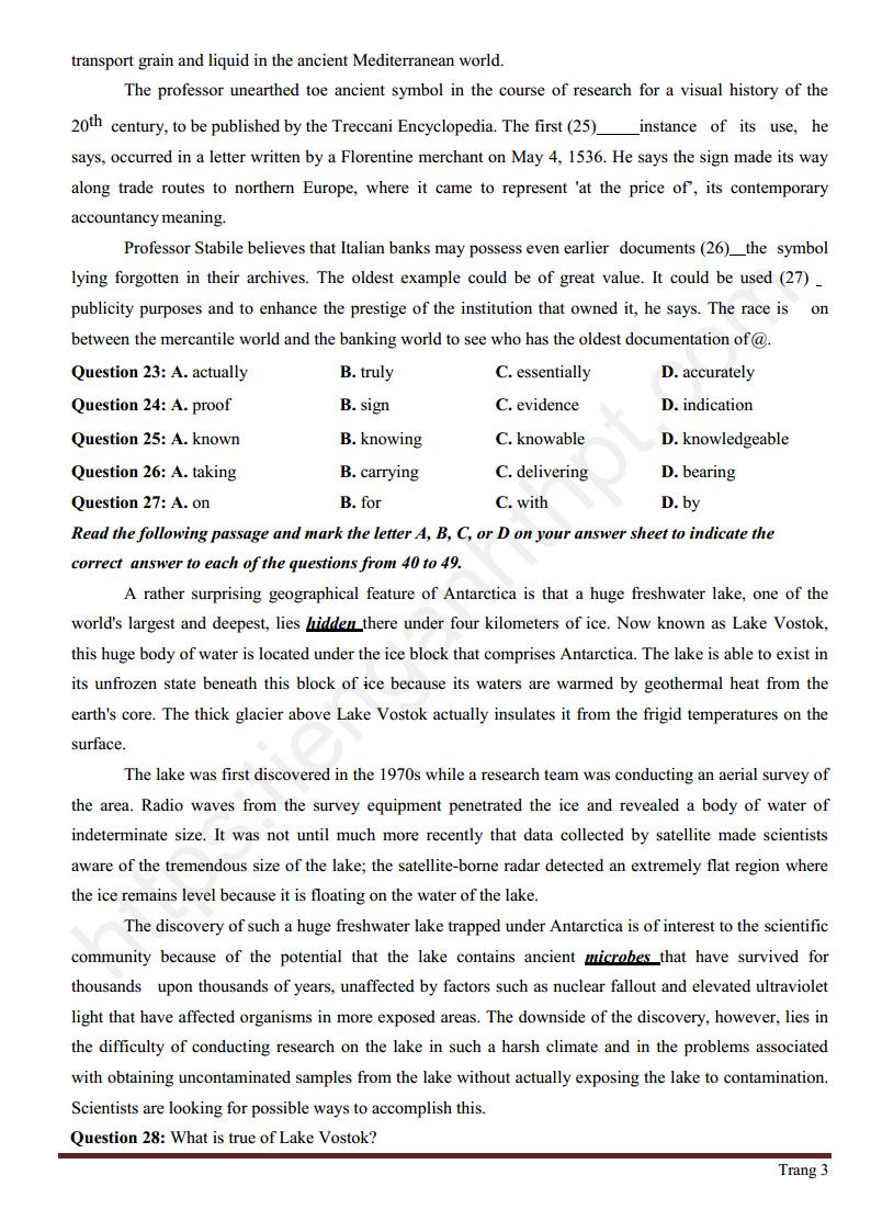 Đề thi đánh giá năng lực môn Tiếng Anh trường THPT Nam Hà - Biên Hòa