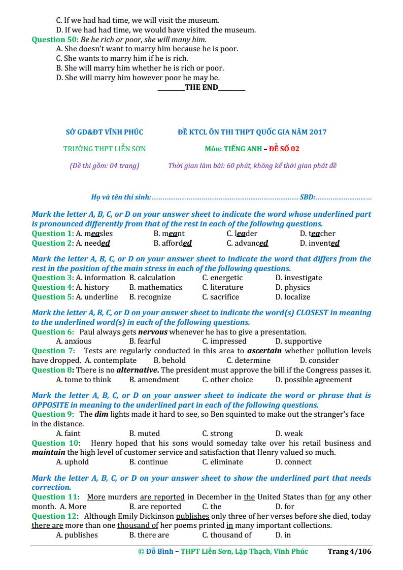20 đề thi thử tiếng Anh THPT Quốc Gia 2018 lần 1 - Nhà giáo Đỗ Bình