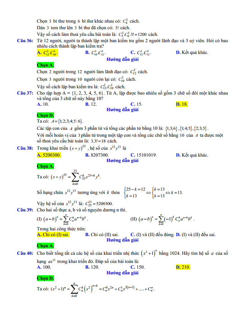 Chuyên đề Tổ hợp Xác suất - 250 bài tập trắc nghiệm