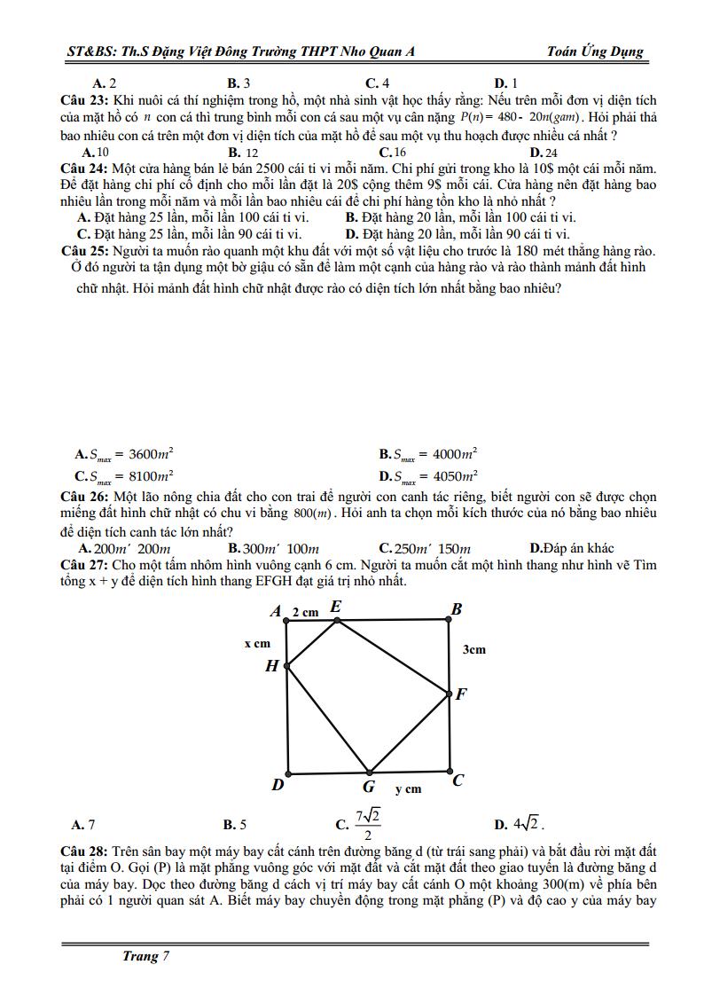 Các dạng toán ứng dụng thực tế - Bài tập có lời giải - Đặng Việt Đông
