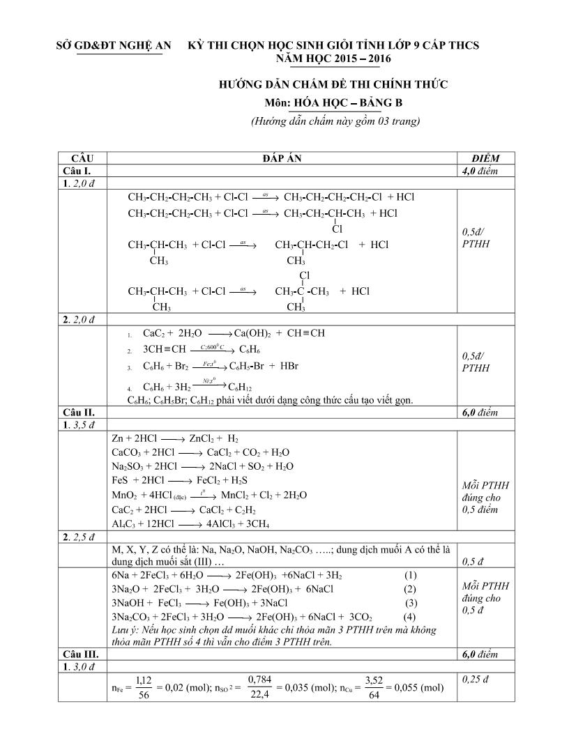 Đề thi HSG môn Hóa tỉnh Nghệ An năm 2016 có lời giải chi tiết