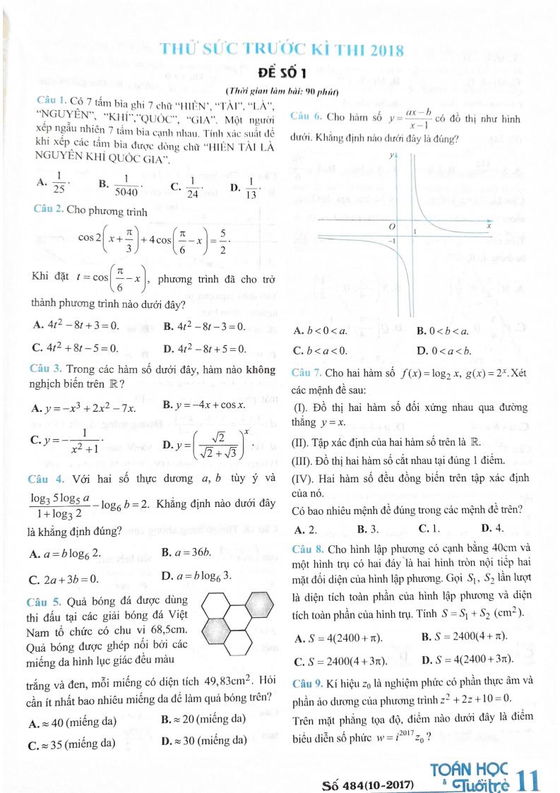 Đề thi thử tạp chí Toán Học Tuổi Trẻ - Đề số 1 - Có đáp án chi tiết