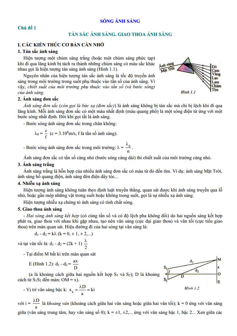 Lý thuyết và bài tập chuyên đề Tán sắc ánh sáng, giao thoa ánh sáng Vật Lý 12