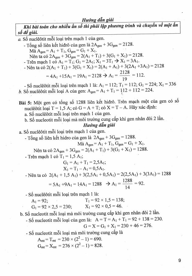 Tài liệu Phương pháp giải nhanh các bài tập môn Sinh ôn thi THPTQG