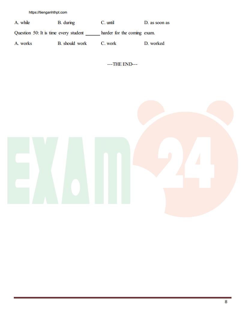 Tổng hợp đề thi thử tiếng Anh các trường chuyên 2017 - Có đáp án
