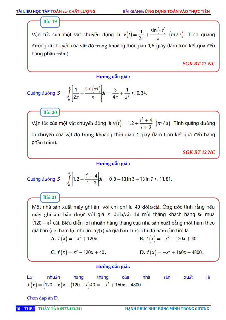 Ứng dụng tích phân để giải bài toán thực tiễn - Bài tập giải chi tiết