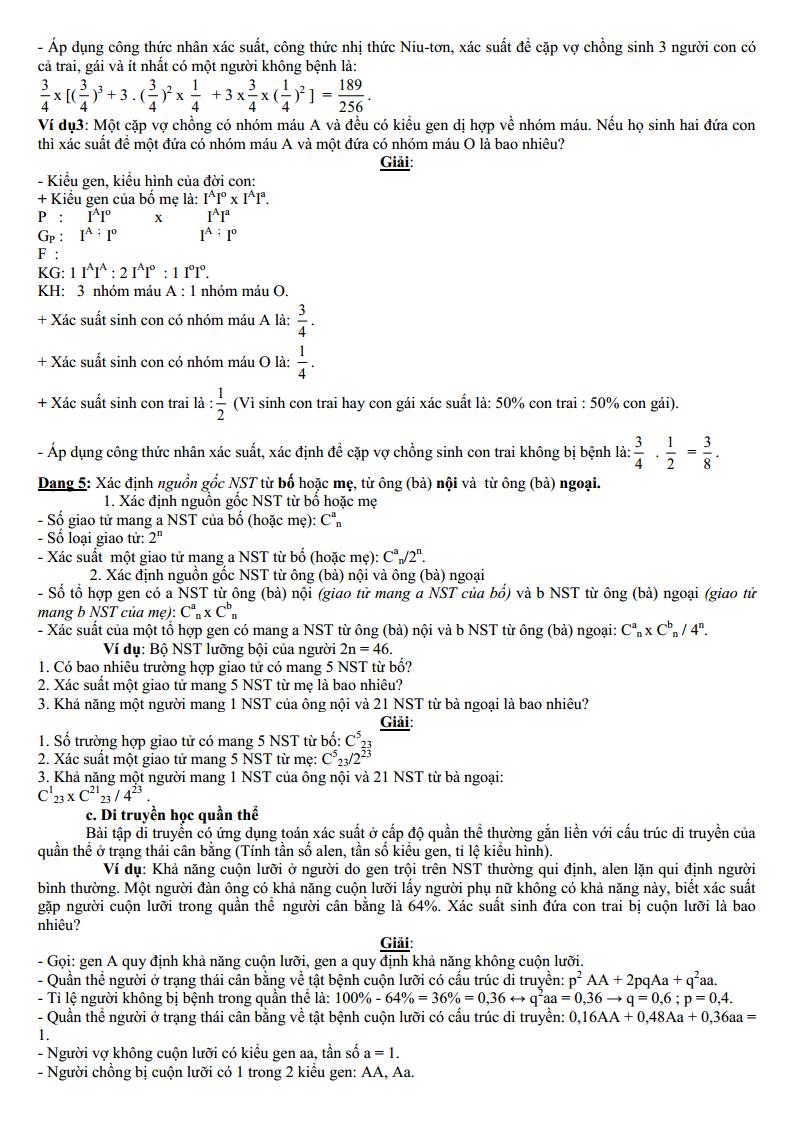 Tài liệu Xác suất trong bài tập di truyền lớp 12 THPT Quốc Gia